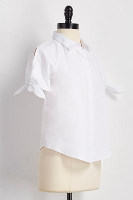 knot tie sleeve button down shirt
