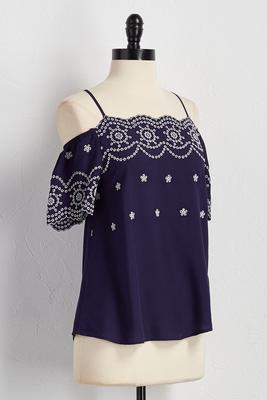 embroidered bare shoulder top