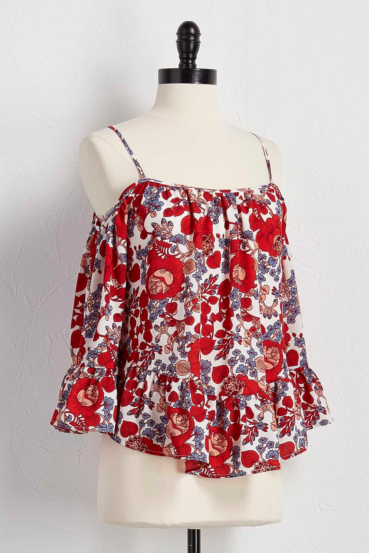 Flounced Floral Bare Shoulder Top