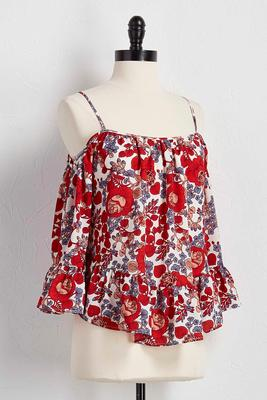 flounced floral bare shoulder top