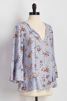 abstract floral tasseled poet top