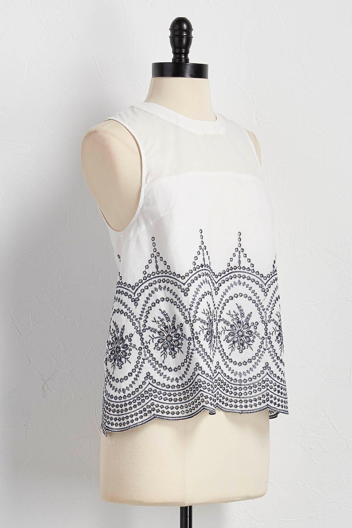 Embroidered Eyelet Tank