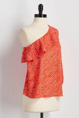 dash print ruffled asymmetrical top
