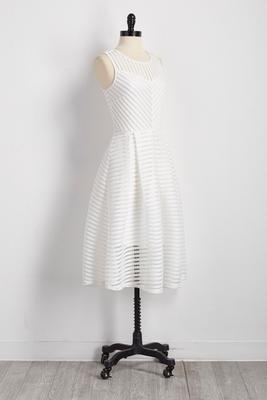 illusion striped midi dress