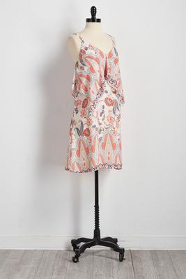 bordered floral sharkbite popover dress
