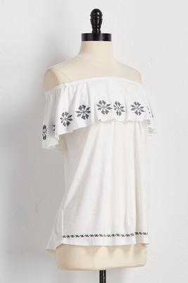 embroidered pin wheel off the shoulder top
