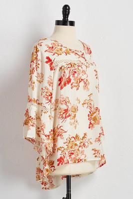 lattice neck floral tunic