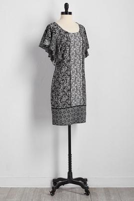 contrast floral print shift dress