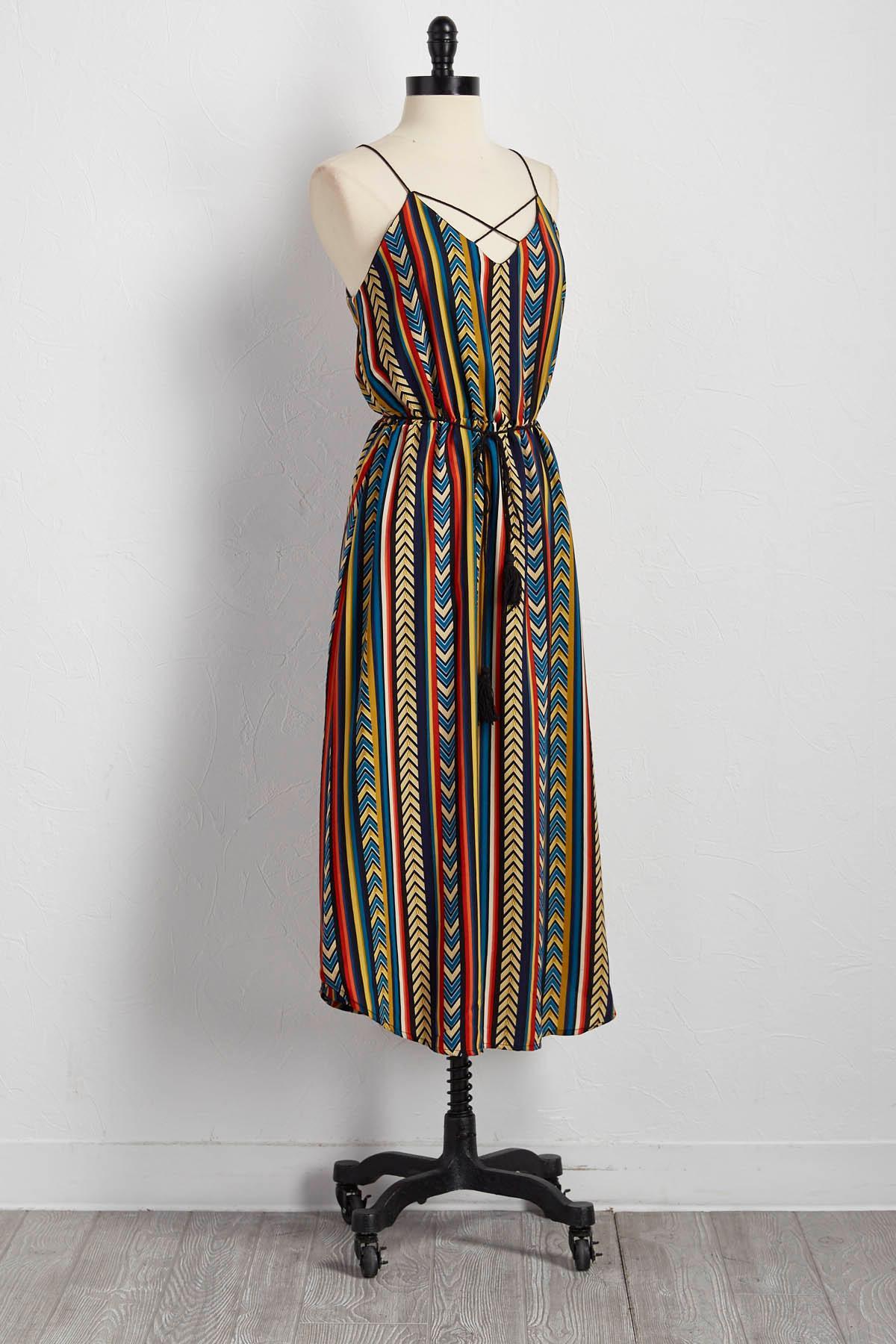 Arrowhead Striped Midi Dress