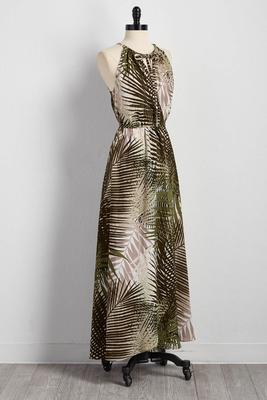 palm frond tie surplice maxi dress