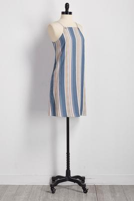 striped colorblock grommet strap shift dress