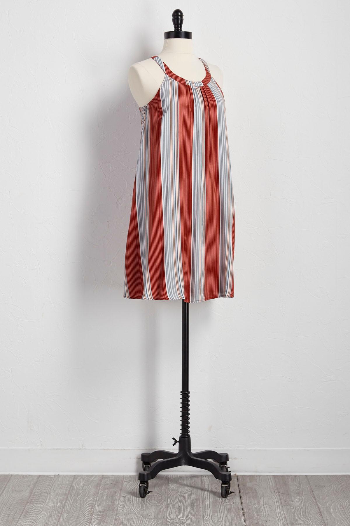 Colorblock Striped Shift Dress