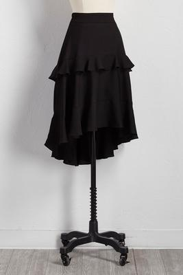 tiered ruffle high-low skirt