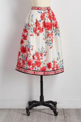 bordered floral midi skirt
