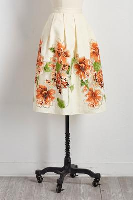 floral bordered burnout midi skirt
