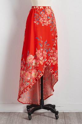 tulip hem floral maxi skirt