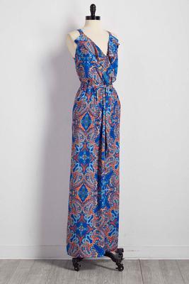 ruffled paisley floral maxi dress