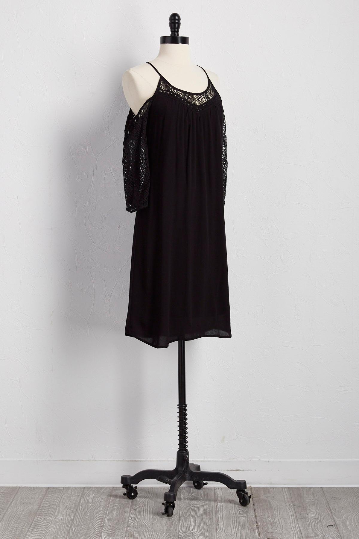 Lace Inset Bare Shoulder Shift Dress