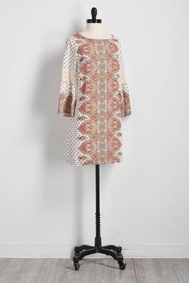 paisley placement print shift dress