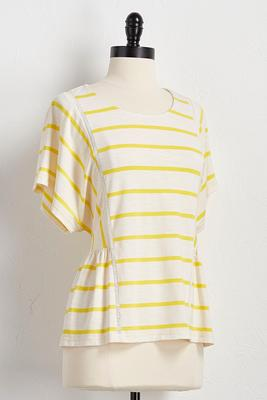 pleated button back striped top