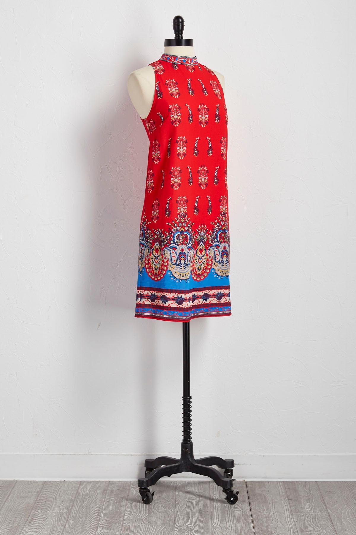 Bordered Floral Shift Dress
