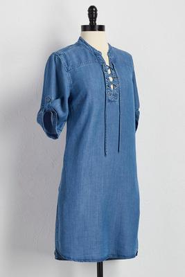 lace up neck chambray tunic
