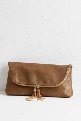 chain tassel foldover clutch