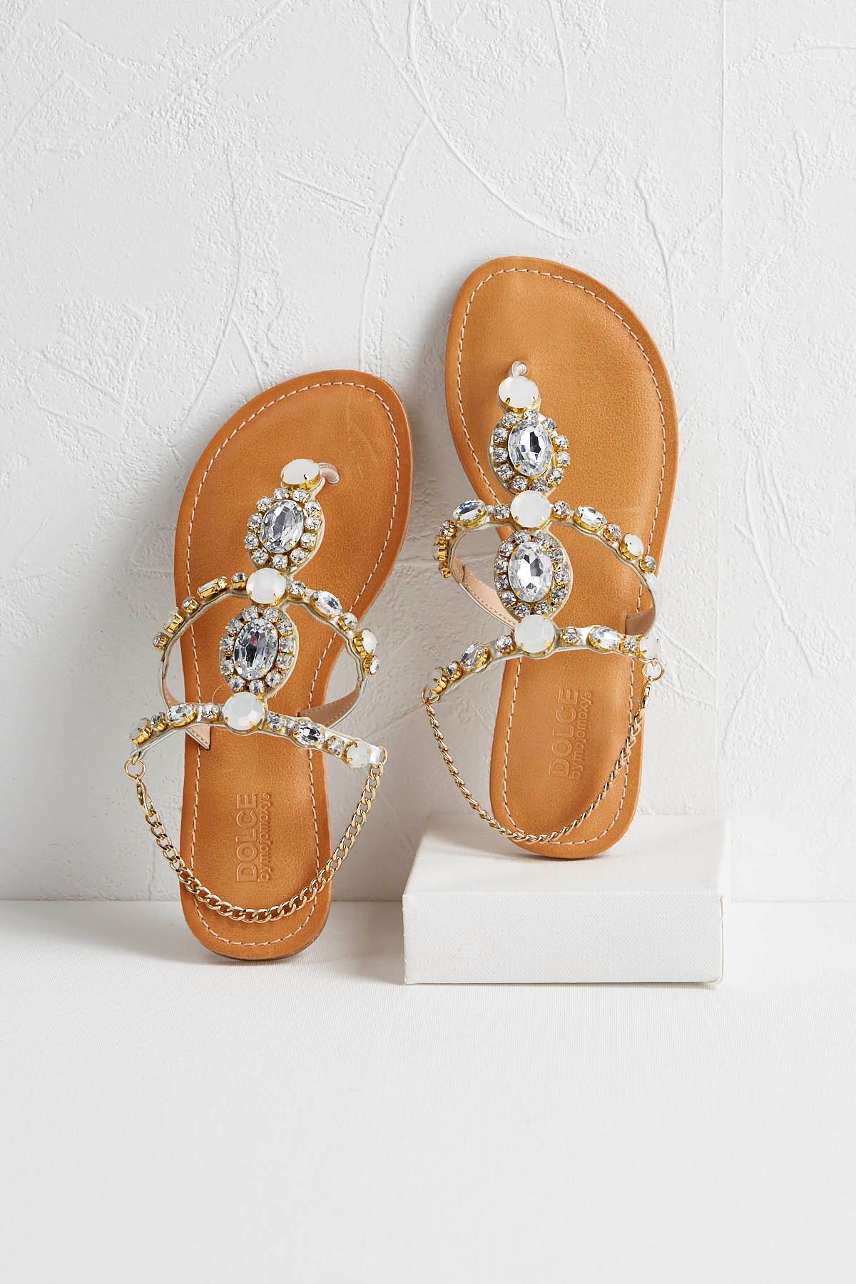 Embellished Bracelet Thong Sandals