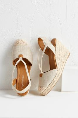 hooded v-strap espadrille wedges
