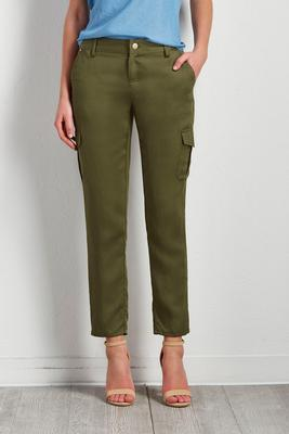 twill utility crop pants