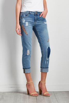 feather embroidered girlfriend jeans