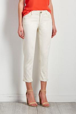 ivory skinny cropped jeans