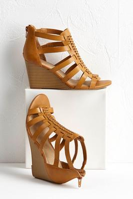 woven band strappy wedges