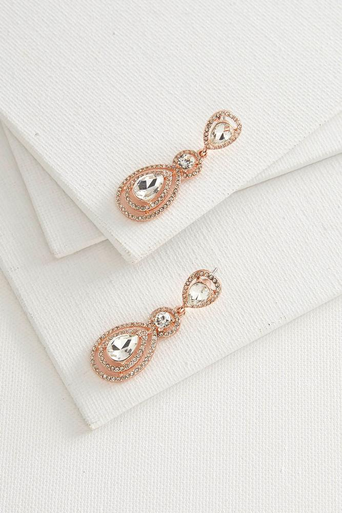 Double Halo Stone Statement Earrings