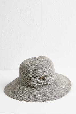 metallic bow floppy hat