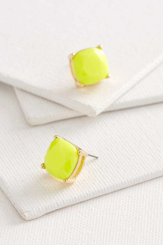 Colored Cushion Cut Stud Earrings