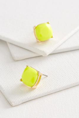 colored cushion cut stud earrings