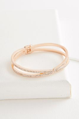 linked double bar pave bracelet