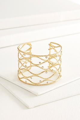 wavy rhinestone cuff bracelet