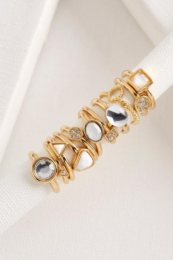 Iridescent Stone Stackable Ring Set