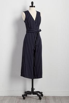 belted pinstriped crop jumpsuit