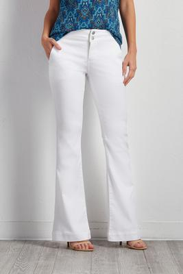 white flare trouser jeans
