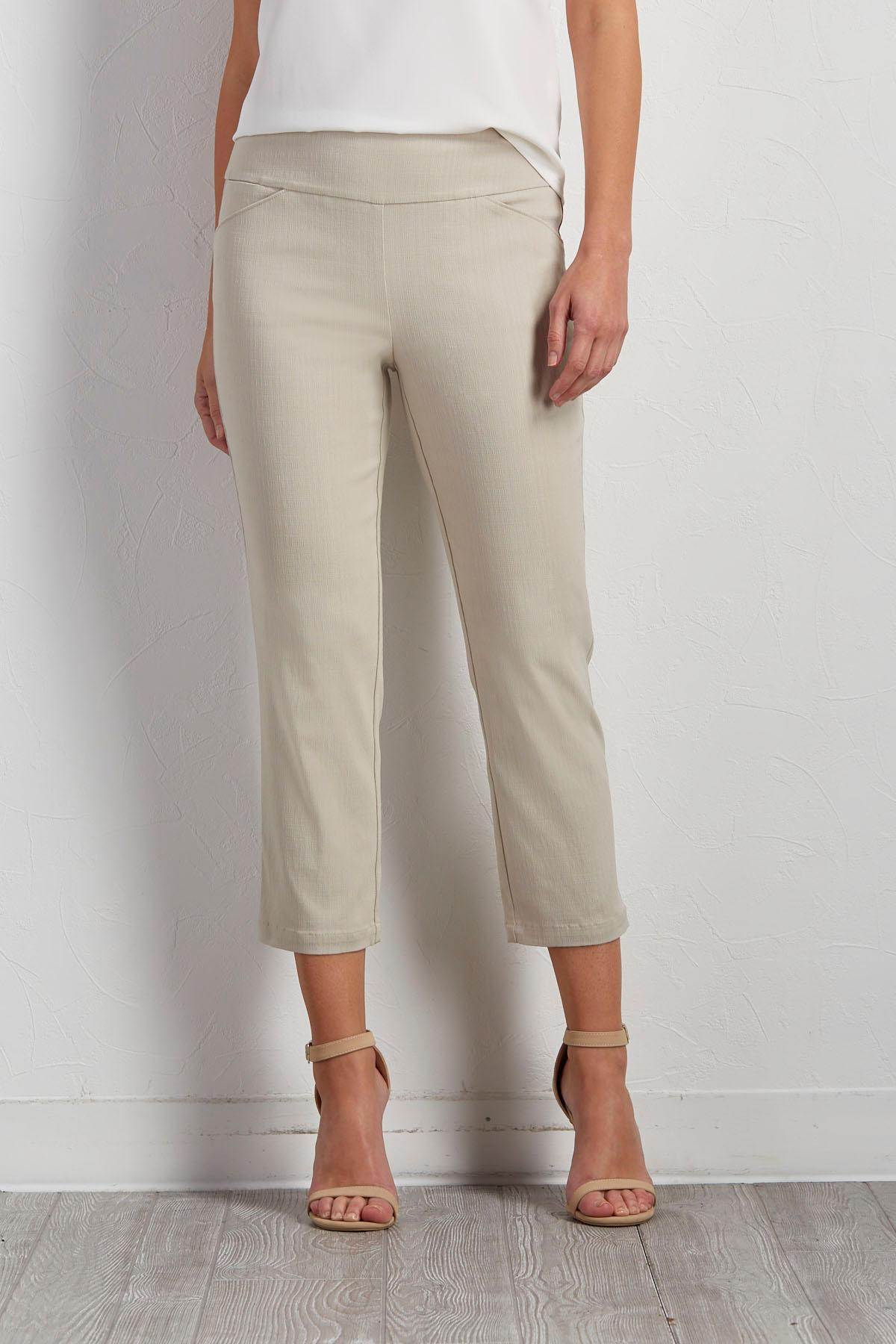 Crosshatch Textured Crop Pants