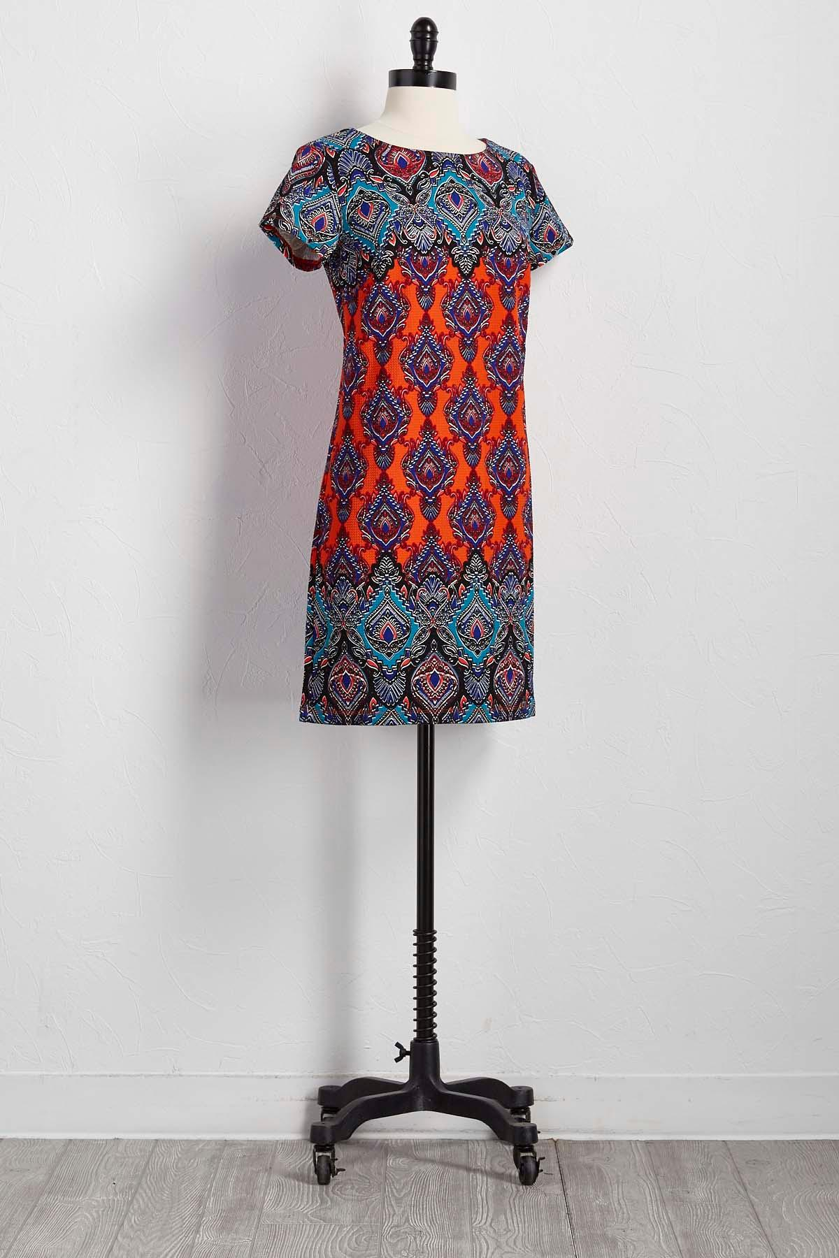 Bordered Scroll Shift Dress
