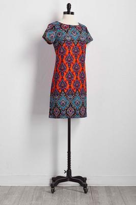 bordered scroll shift dress