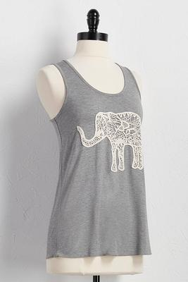 crochet elephant applique tank