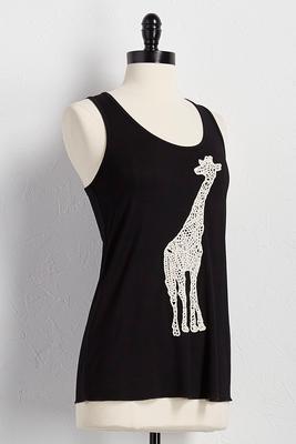 crochet giraffe appliqué tank