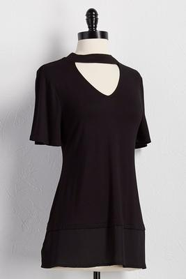 mock cutout neck chiffon trim top