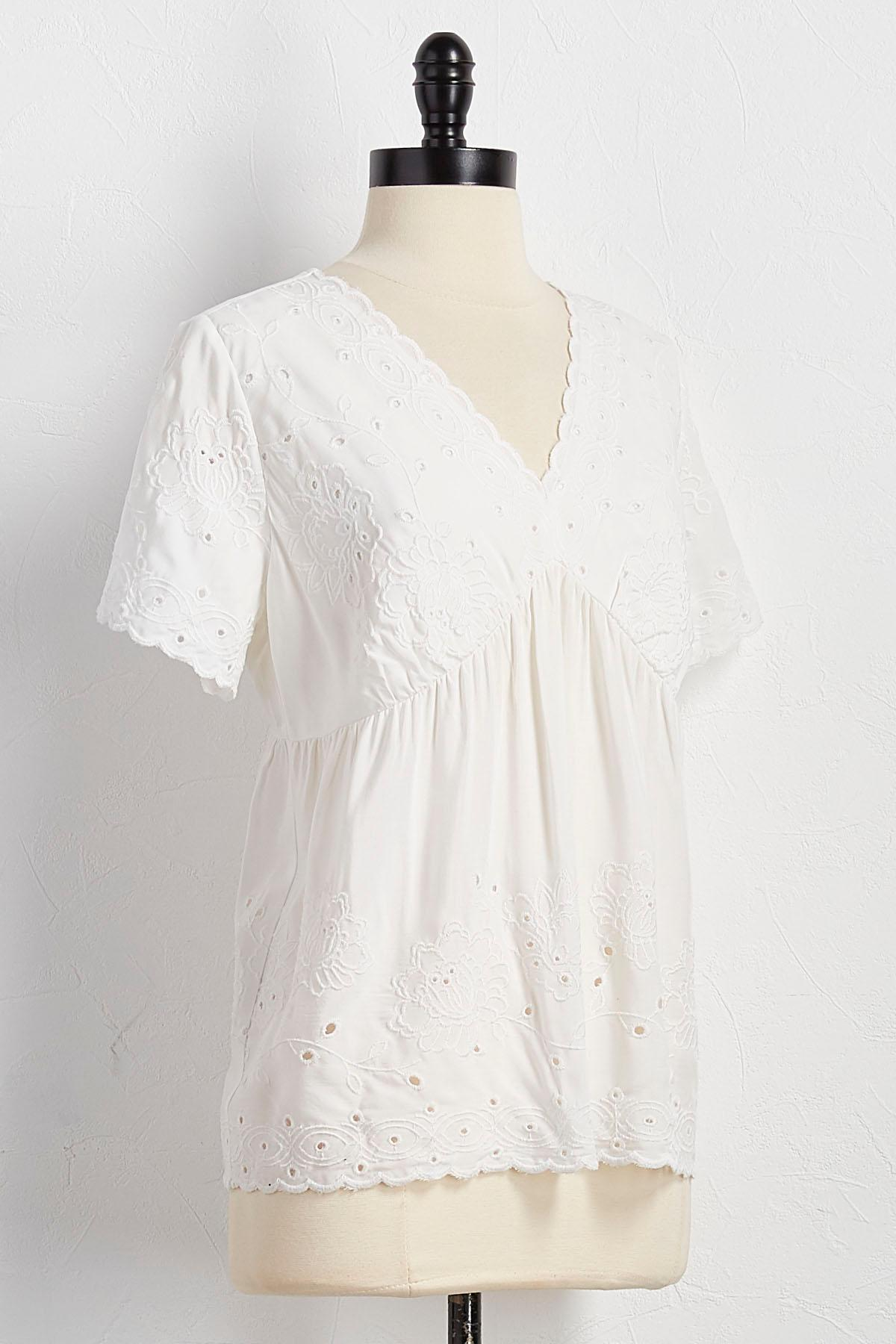 Embroidered Eyelet Babydoll Top