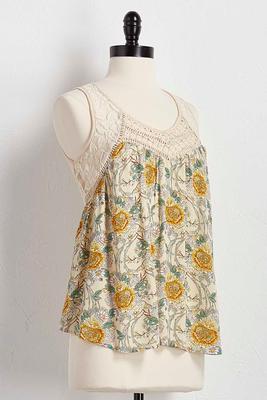 floral front crochet neck tank